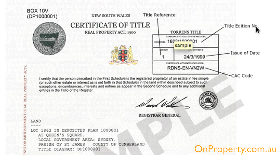 Land Title Certificate Example