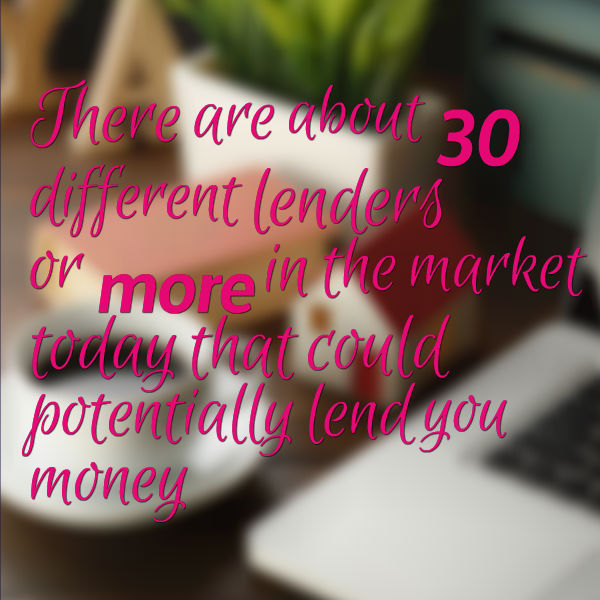 there are about 30 different lenders or more in the market today that could potentially lend you money