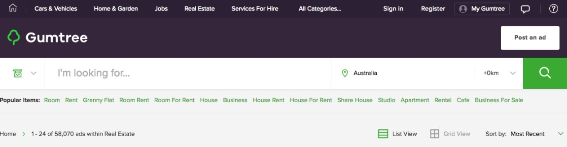 Gumtree Real Estate Property Search